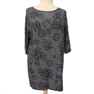 J. Jill Wearever Collection black floral print top